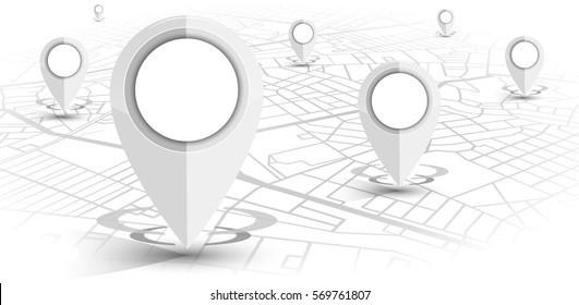 GPS.navigator pin white color mock up with map on white background. vector illustration