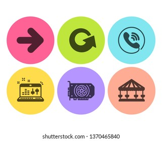Gpu, Call center and Sound check icons simple set. Reload, Next and Carousels signs. Graphic card, Phone support. Technology set. Flat gpu icon. Circle button. Vector