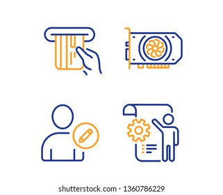Gpu, Credit card and Edit user icons simple set. Settings blueprint sign. Graphic card, Atm payment, Profile data. Engineering cogwheel. Linear gpu icon. Colorful design set. Vector