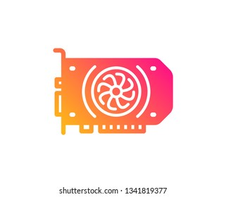 Gpu graphic card icon. Computer component hardware sign. Classic flat style. Gradient gpu icon. Vector