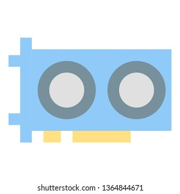 GPU Graphic Card Icon, Simple Flat Style - Vector