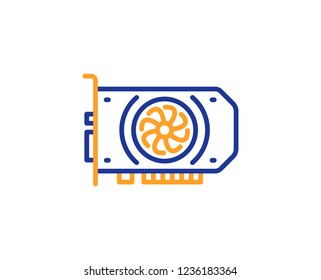 Gpu graphic card line icon. Computer component hardware sign. Colorful outline concept. Blue and orange thin line color Gpu icon. Vector