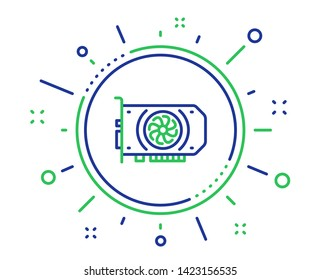 Gpu graphic card line icon. Computer component hardware sign. Quality design elements. Technology gpu button. Editable stroke. Vector