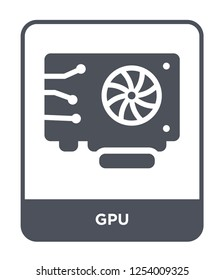 gpu icon vector on white background, gpu trendy filled icons from Hardware collection, gpu simple element illustration