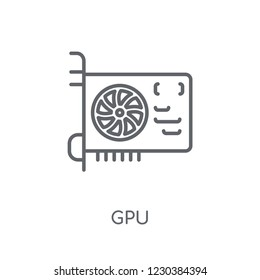 Gpu linear icon. Modern outline Gpu logo concept on white background from hardware collection. Suitable for use on web apps, mobile apps and print media.