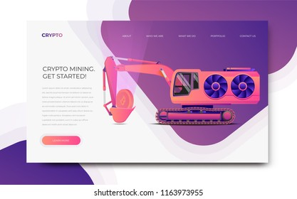 GPU Miner Digger. Cryptocurrency mining themed banner template. Mining farm server website template. Modern styled vector illustration.