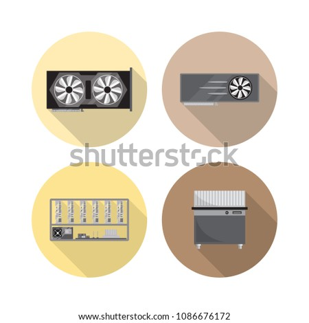 GPU Rig Miner Cryptocurrency Graphic Card Stock Vector (Royalty Free