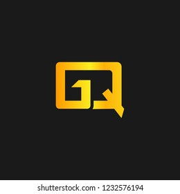 GQ or G Q letter alphabet logo design in vector format.