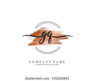 GQ handwriting initial  logo vector