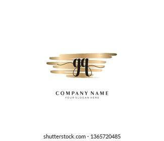 GQ initial handwriting logo with brush gold color template vector