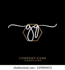GQ Initial handwriting logo template