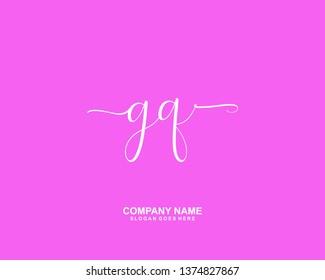 GQ Initial Handwriting Logo Vector