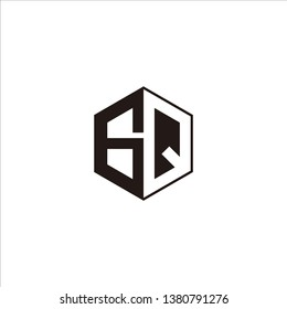 GQ Logo Initial Monogram Negative Space Designs Modern Templete with Black color and White Background