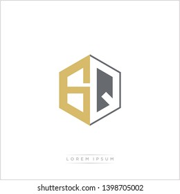 GQ Logo Initial Monogram Negative Space Design Template With Gold and Grey Color - Vector EPS 10