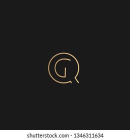 GQ or QG logo vector. Initial letter logo, golden text on black background