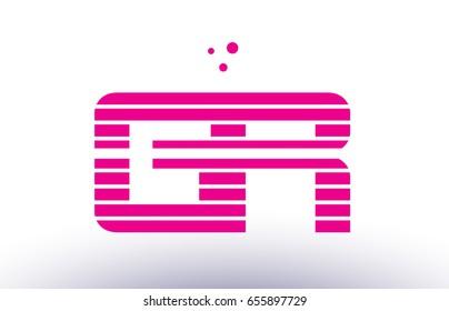 gr g r alphabet letter logo pink purple line stripe company design template creative abstract vector