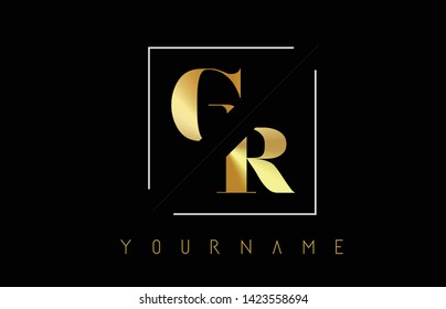 GR Golden Letter Logo with Cutted and Intersected Design and Square Frame Vector Illustration