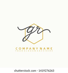 GR Initial handwriting logo concept