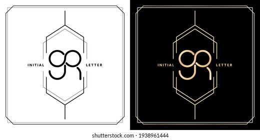 GR initial letter and graphic name, GR Monogram infinity model with hexagonal frames, for Wedding couple name, with two color variation designs gold and monochrome with isolated black white background