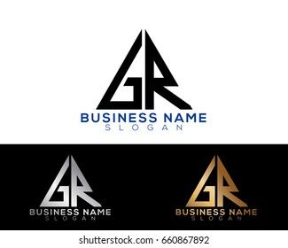 GR initial letters linked triangle shape logo