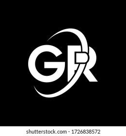 GR Letter Logo Design. Initial letters GR logo icon. Abstract letter GR G R minimal logo design template. G R Letter Design Vector with black Colors. gr logo