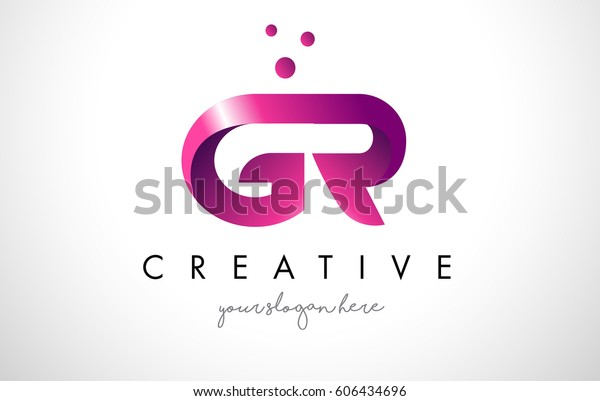 보라색 및 점이 있는 GR 문자 로고 디자인 템플릿