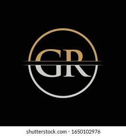 GR letter Type Logo Design vector Template. Initial Letter GR logo Design