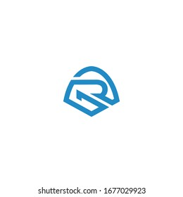 GR logo with  guardian icon vector