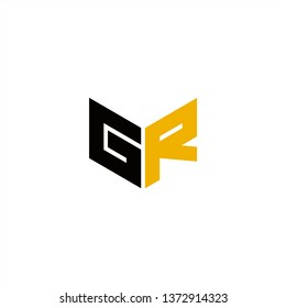 GR Logo Letter Initial With Black and Yellow Colors