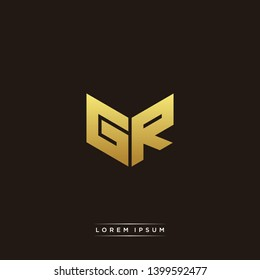 GR Logo Letter Initial Logo Designs Templete with Gold and Black Background