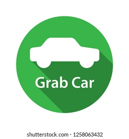 Grab car application icon. Simple line icon. Isolate on white background.
