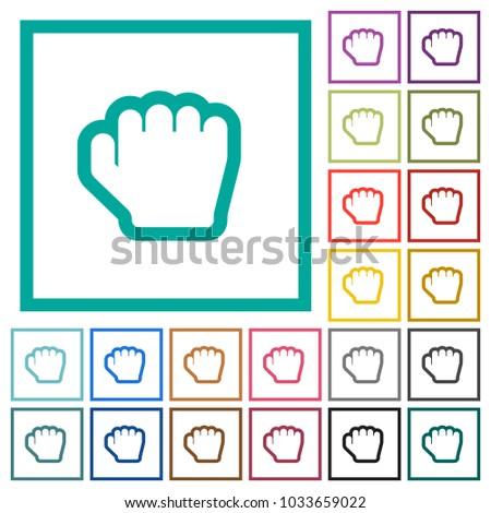 Grab Cursor Flat Color Icons Quadrant Stock Vector (Royalty Free
