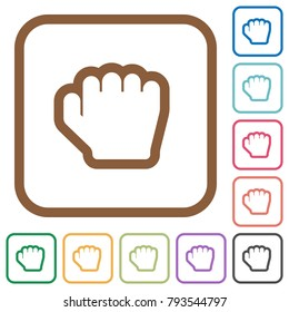 Grab cursor simple icons in color rounded square frames on white background