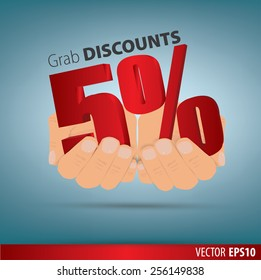 Grab discounts. Hands hold 5 percent discount. vector banner discount of 5  percent. EPS 10