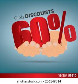 Grab discounts. Hands hold 60 percent discount. vector banner discount of 60 percent. EPS 10