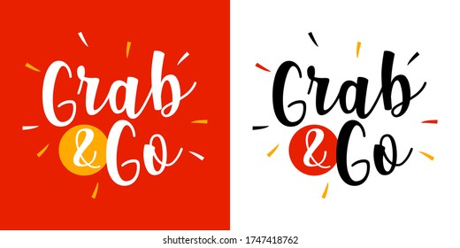 Grab and Go on red background