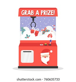 Grab a prize. Merry christmas theme. Toy grabber. One-armed bandit. Slot machine full of xmas presents/ flat editable vector illustration, clip art