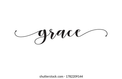 grace calligraphy text with swashes vector