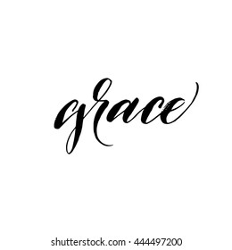 Grace card. Hand drawn background. Hand drawn word Grace. Ink illustration. Modern brush calligraphy. Isolated on white background.