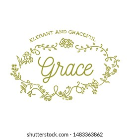 Grace - Elegant and Graceful. Decorative set of Personal Name and Meaning with floral wreath. Vector Isolated Graphic design elements and illustration. Flowers, script, lettering, calligraphy.