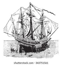 The grace of God Henri warship, vintage engraved illustration. Industrial encyclopedia E.-O. Lami - 1875.