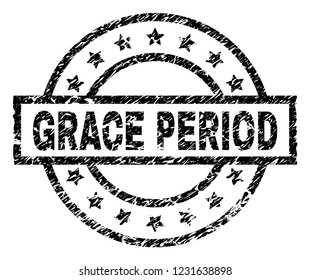 GRACE PERIOD stamp seal watermark with distress style. Designed with rectangle, circles and stars. Black vector rubber print of GRACE PERIOD title with corroded texture.