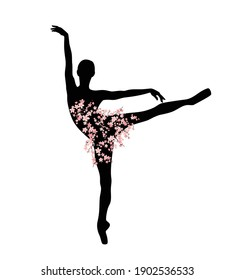 graceful ballerina girl with tutu dress made of blooming sakura branches standing on pointe shoes - slim dancer figure vector silhouette
