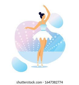Graceful Ballerina Performance Vector Illustration. Elegant Young Woman in Tutu and Pointe Shoes Cartoon Character. Beautiful Female Dancer on Stage. Exquisite Theatrical Show, Classic Dance