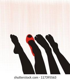 Graceful beautiful female feet, barefoot, one in the shoe