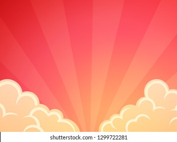 Graceful beautiful red sunset, Vector background illustration. Wallpaper with juicy color of sunburst at dawn