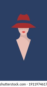 Graceful beautiful woman model with a mole above the upper lip in a red hat hiding her eyes and bright scarlet seductive lips