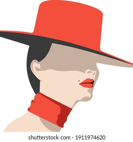 Graceful beautiful woman model with a mole above the upper lip in a red hat and a scarf around her neck with a shadow that hides her eyes and bright red seductive lips