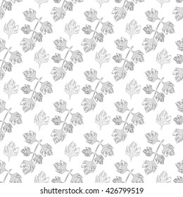 Graceful branches and fresh parsley leaves pattern