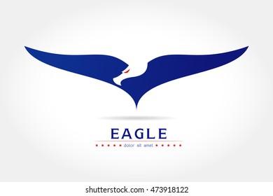 Graceful eagle silhouette logo on white background Vector illustration